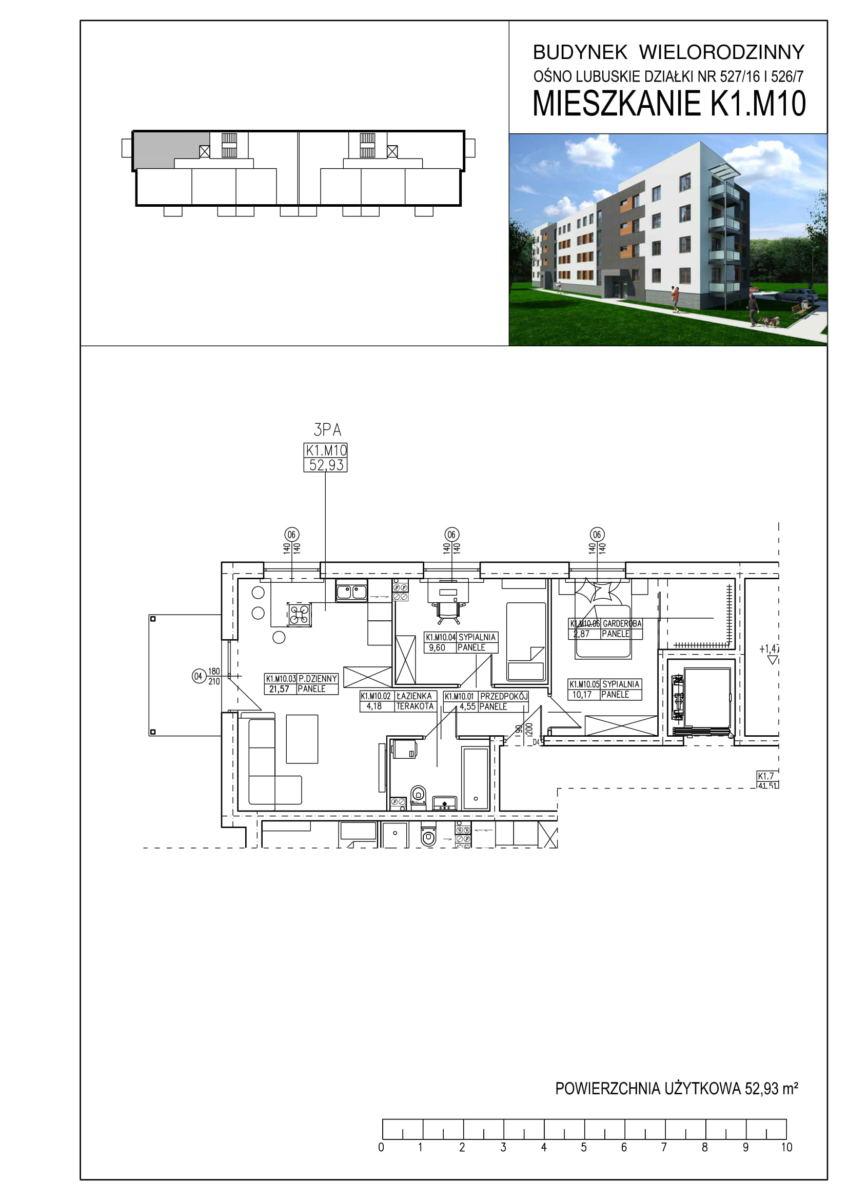 Ośno Lubuskie, ul. Kościuszki, Budynek 1, Mieszkanie K1.M10