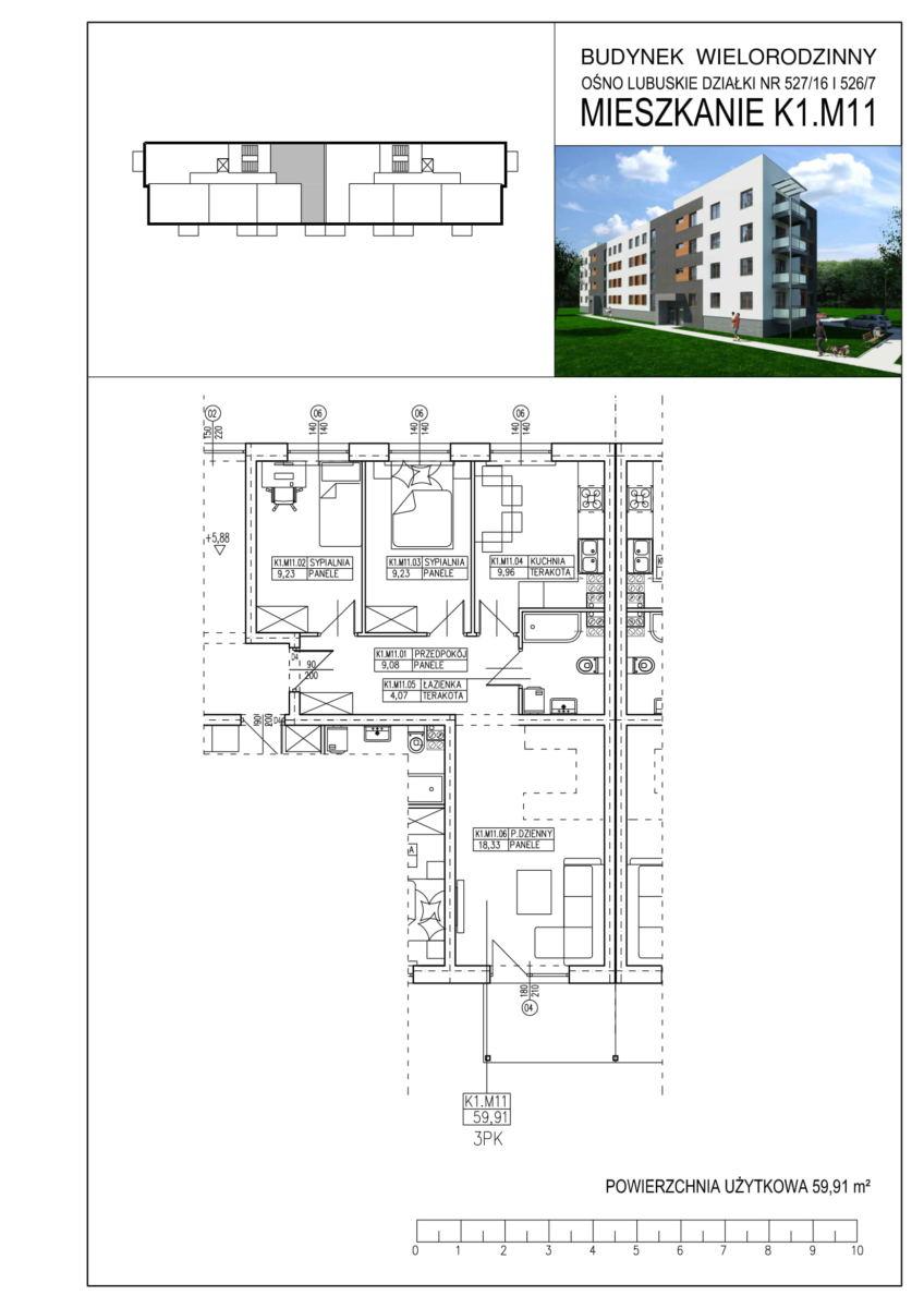 Ośno Lubuskie, ul. Kościuszki, Budynek 1, Mieszkanie K1.M11