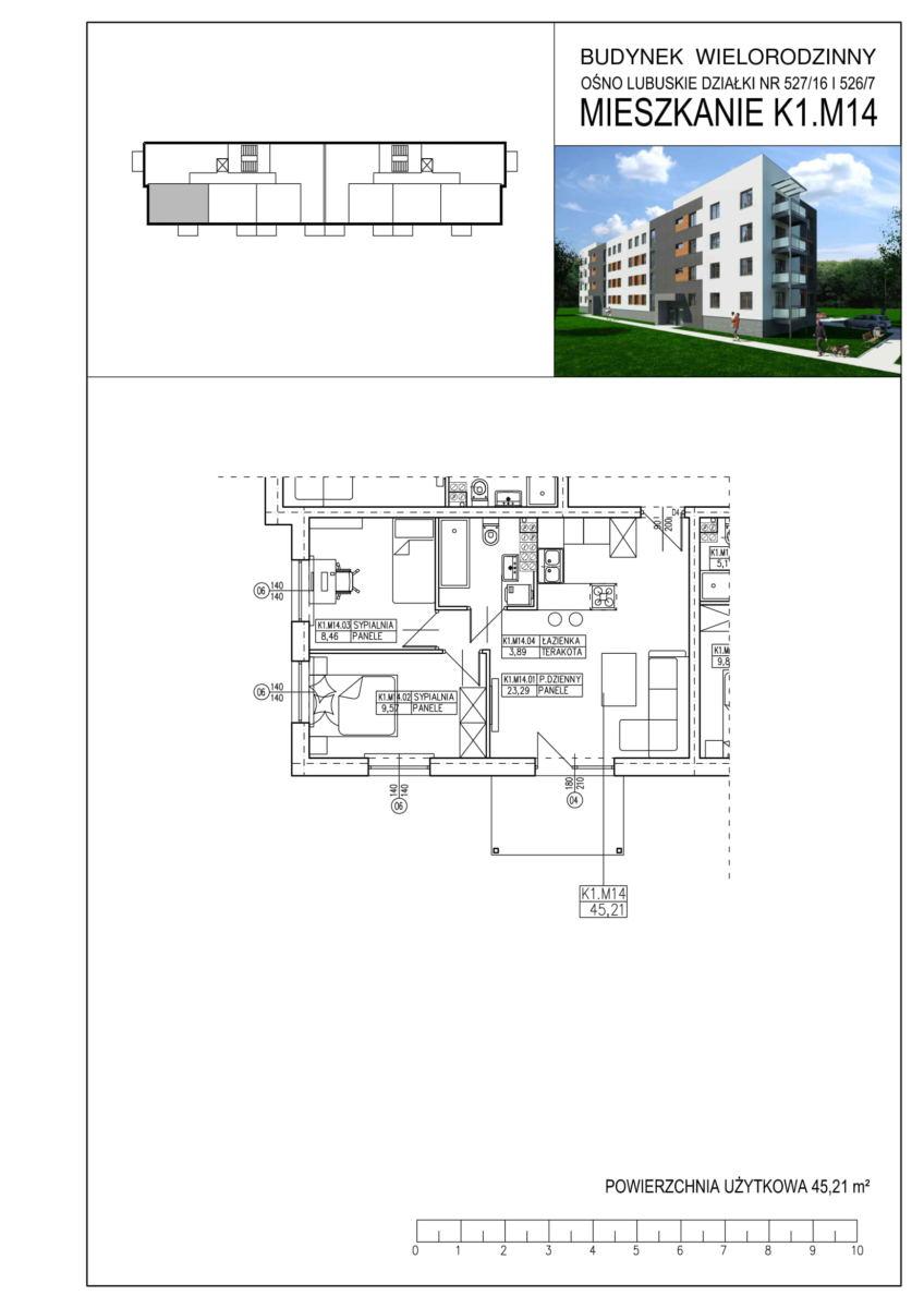 Ośno Lubuskie, ul. Kościuszki, Budynek 1, Mieszkanie K1.M14