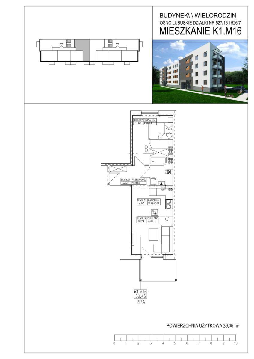 Ośno Lubuskie, ul. Kościuszki, Budynek 1, Mieszkanie K1.M16