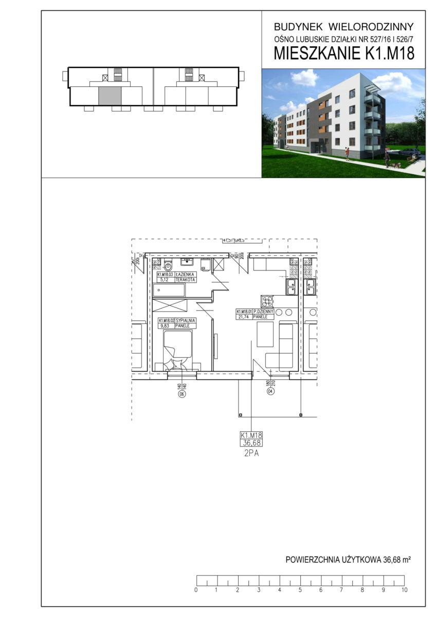 Ośno Lubuskie, ul. Kościuszki, Budynek 1, Mieszkanie K1.M18