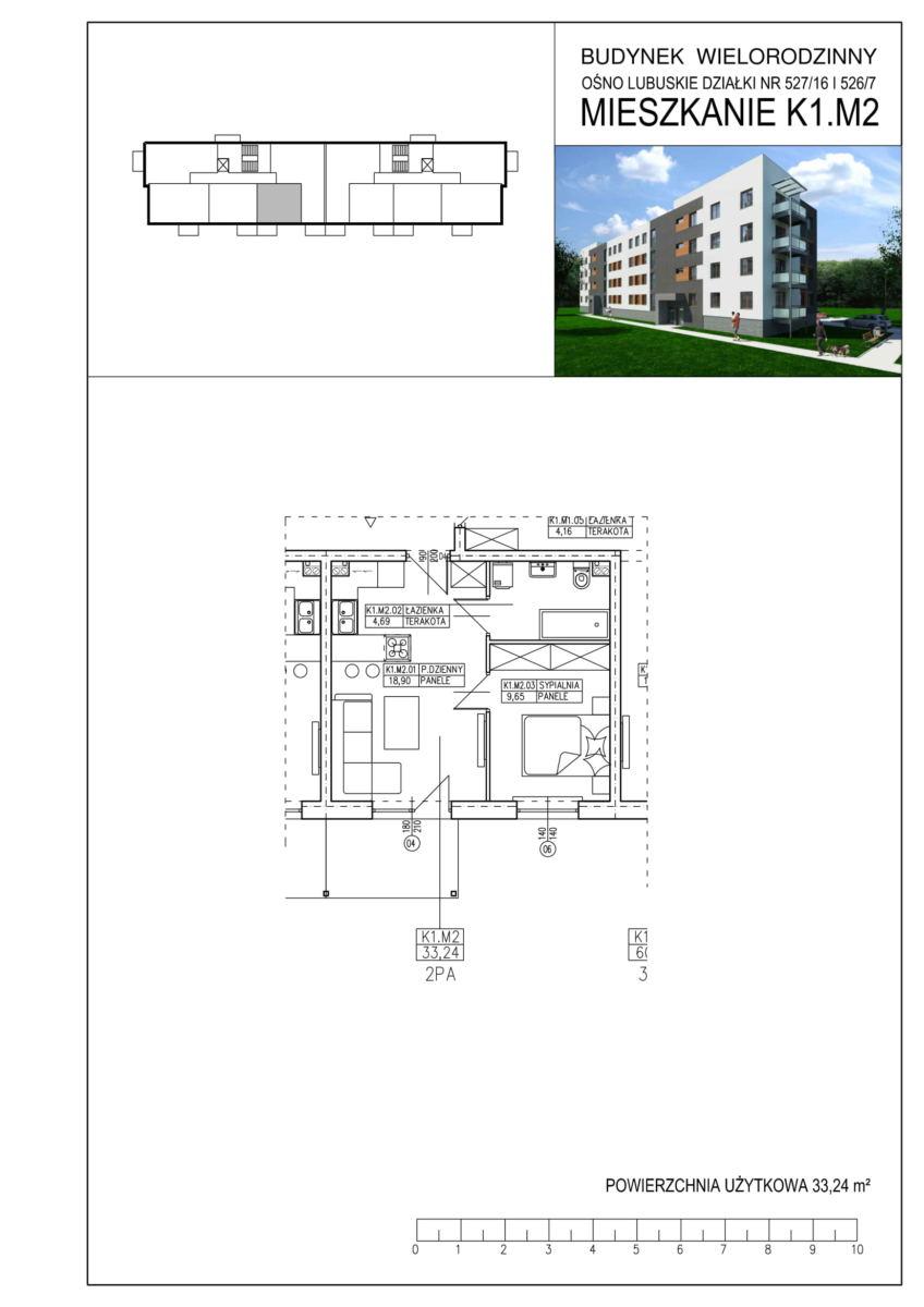 Ośno Lubuskie, ul. Kościuszki, Budynek 1, Mieszkanie K1.M2