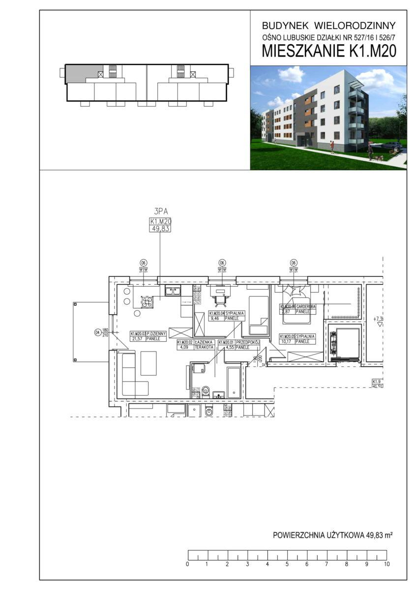 Ośno Lubuskie, ul. Kościuszki, Budynek 1, Mieszkanie K1.M20