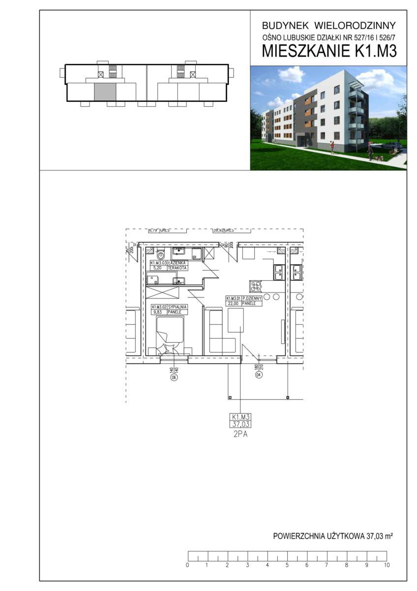 Ośno Lubuskie, ul. Kościuszki, Budynek 1, Mieszkanie K1.M3