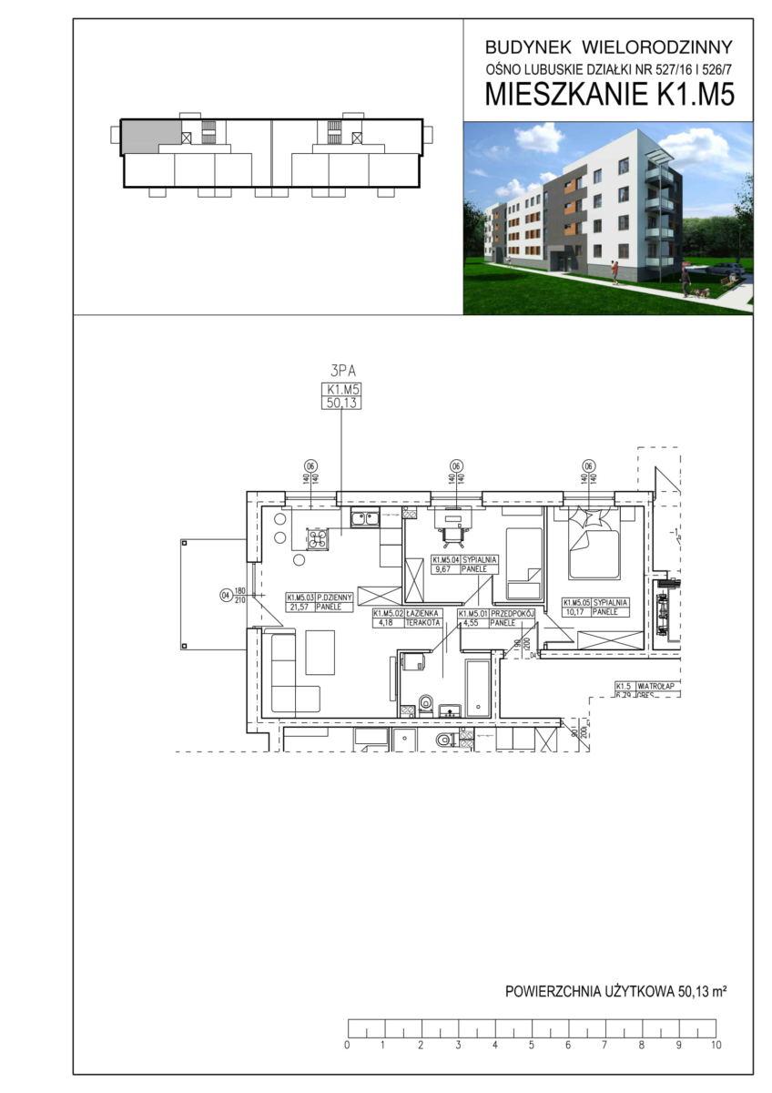 Ośno Lubuskie, ul. Kościuszki, Budynek 1, Mieszkanie K1.M5