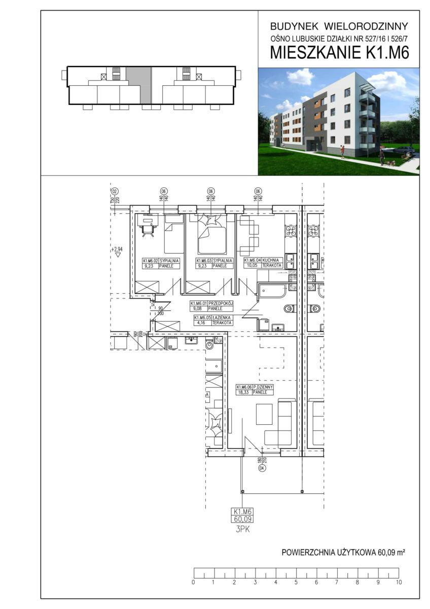 Ośno Lubuskie, ul. Kościuszki, Budynek 1, Mieszkanie K1.M6