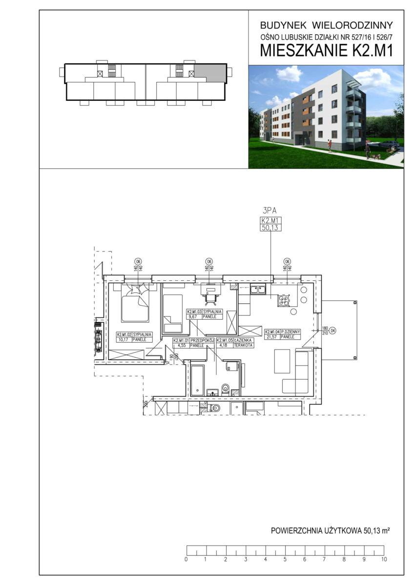 Ośno Lubuskie, ul. Kościuszki, Budynek 1, Mieszkanie K2.M1