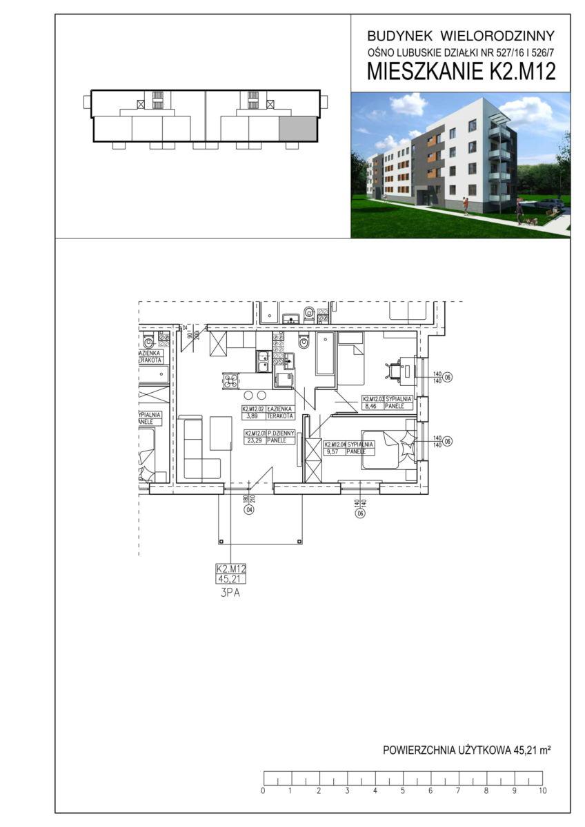 Ośno Lubuskie, ul. Kościuszki, Budynek 1, Mieszkanie K2.M12