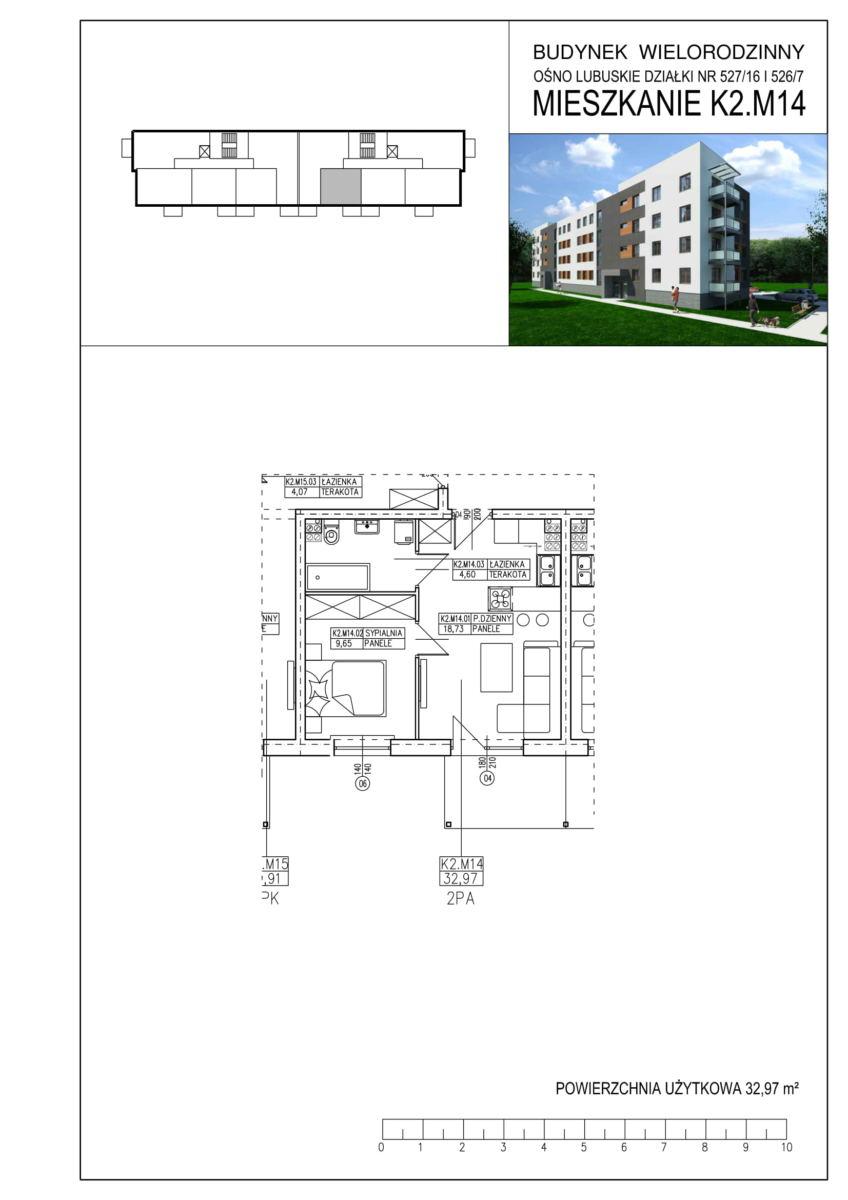 Ośno Lubuskie, ul. Kościuszki, Budynek 1, Mieszkanie K2.M14