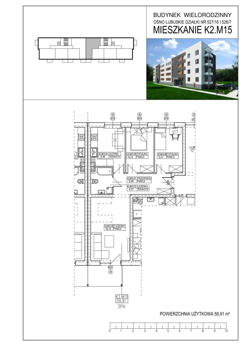Ośno Lubuskie, ul. Kościuszki, Budynek 1, Mieszkanie K2.M15