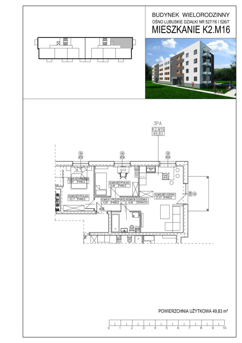 Ośno Lubuskie, ul. Kościuszki, Budynek 1, Mieszkanie K2.M16