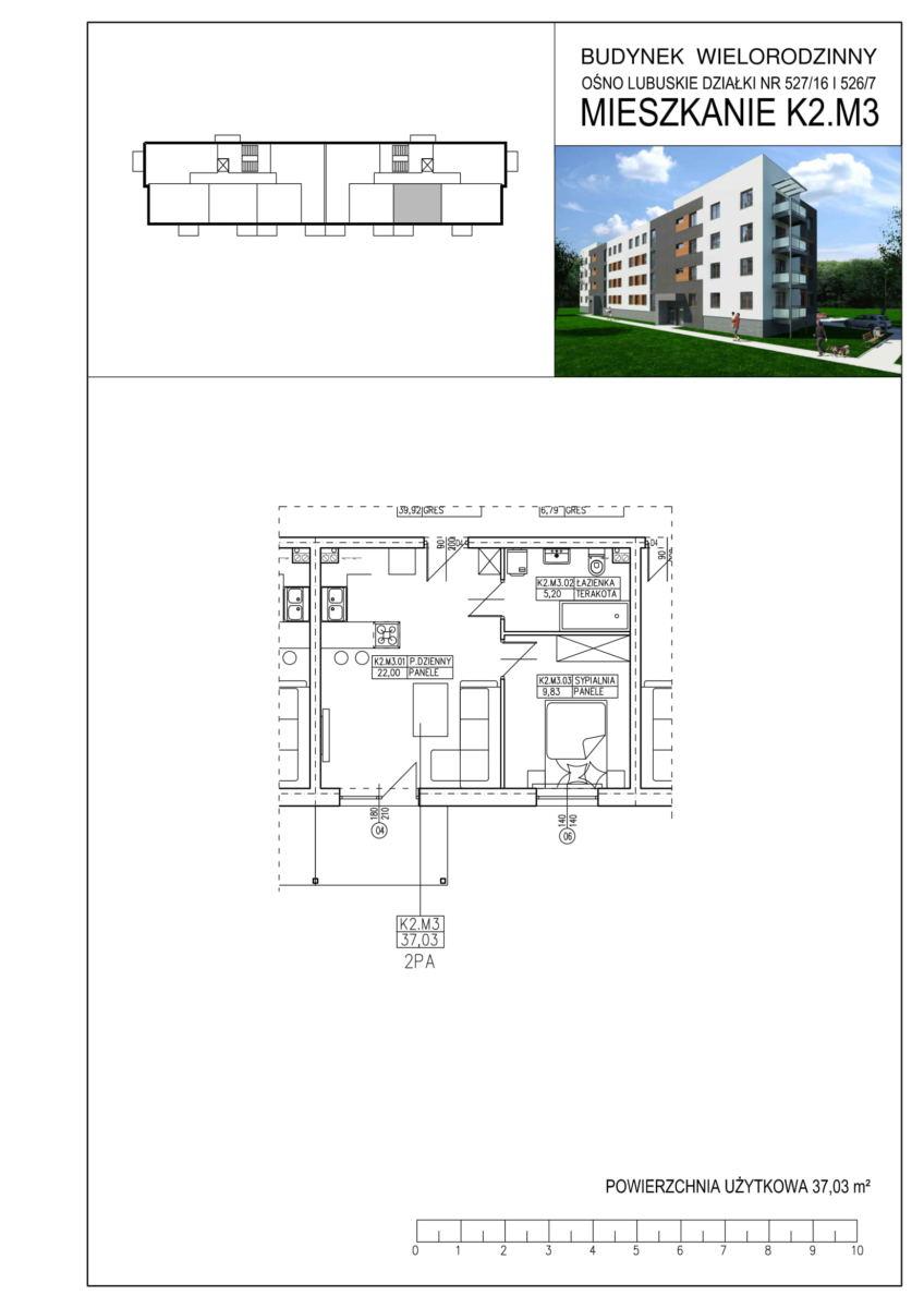 Ośno Lubuskie, ul. Kościuszki, Budynek 1, Mieszkanie K2.M3